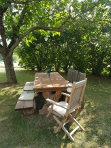 Shady lunch in the orchard, La Maison Louverie